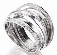 """Anello """"Ondine"""" in platino e diamanti"""