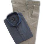 Pantalone in lana camicia denim
