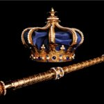 THE BORGIAS-Crown and scepter Gold Metal with Zaffires
