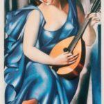 Tamara de Lempicka-Donna in blu con chitarra