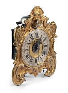 Orologio da tavolo in stile rocaille, Anonimo, Germania, seconda metà del XVIII secolo.