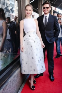 Lily James in Christian Dior