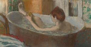 La toilette, naissance de l'intime. Musee Marmottan Monet - Degas- Femme dans son bain s'épongeant la jambe, 1883.
