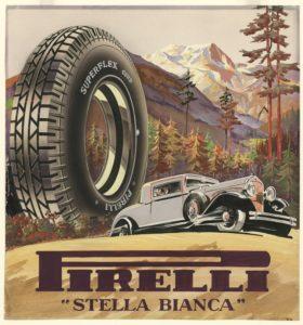 """""""Una musa tra le ruote"""" Cartellone pubblicitario Pirelli"""