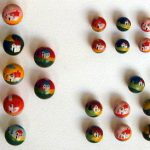 Bottoni in legno dipinti a mano 1940