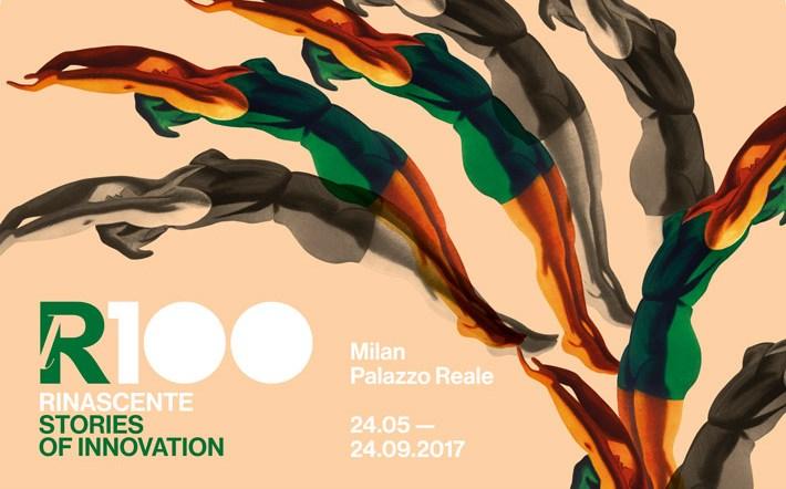 """Locandina Mostra Milano """"lR100. RINASCENTE. Stories of innovation"""","""