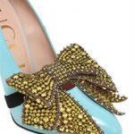 Decolletè Gucci pelle turchese,fiocco cristalli mostarda-dettagli