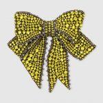 Decolletè Gucci pelle turchese,fiocco cristalli mostarda