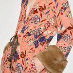 Zara A/I 2017-18 - kimono stampato polsini in pelliccia sintetica-pink version