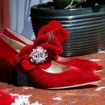 Anouki MFW 2018-19 shoes, decolletè velluto rosso
