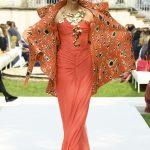 Curiel Haute Couture A/I 18-19 Abito chiffon arancio drapé- courtesy Curiel