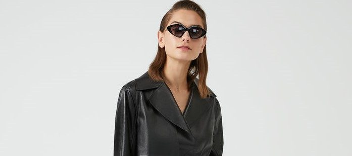 Trench in nappa nero -©- Sportmax